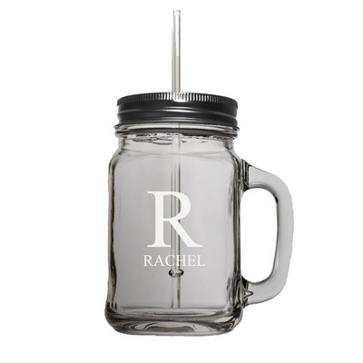 15oz Personalized Glass Mason Jar with Lid