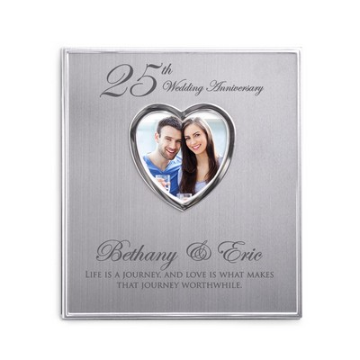 25th Wedding Aniversary Personalized Satin Silver Photo Album