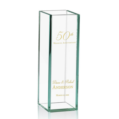 50th Wedding Anniversary Engraved Tall Glass Vase