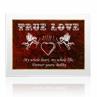 Romantic Cupid and Heart Plaque in Acrylic and Red Marble Finish