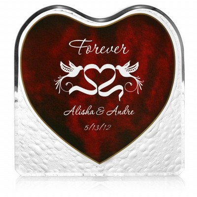 Lovebirds Acrylic Heart with Inlaid Rosewood Finish