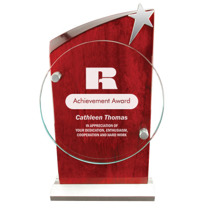 Personalized Piano Finish Wood and Glass Ambassador Award