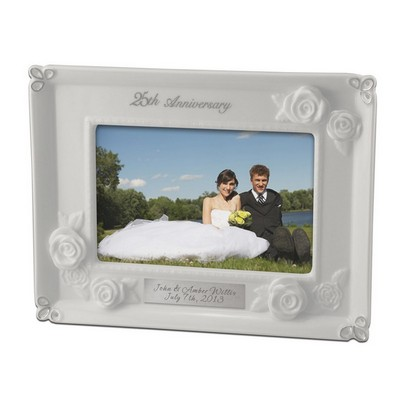 Antique White 25th Anniversary Ceramic Picture Frame