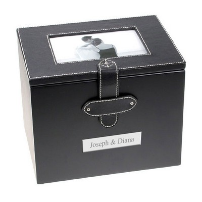 Black Leatherette Photo Album Box with White Stitching
