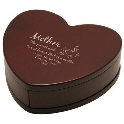 Solid Rosewood Keepsake Heart for Mother