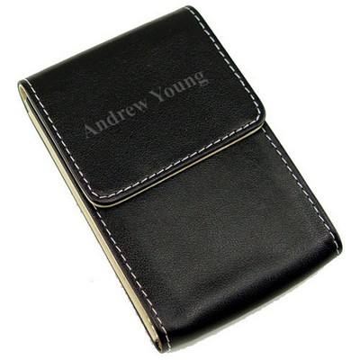 Black Faux-Leather Business Card Holder