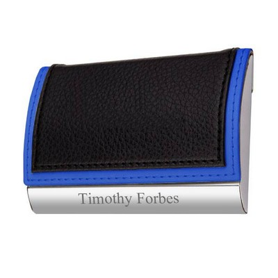 Two Tone Faux Leather Personalized Business Card Holder with Blue Accents