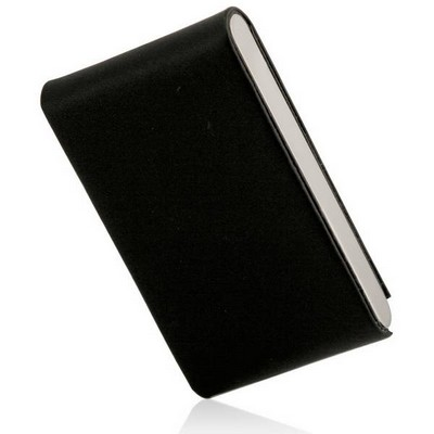 Black Leather and Stainless Steel Business Card Holder