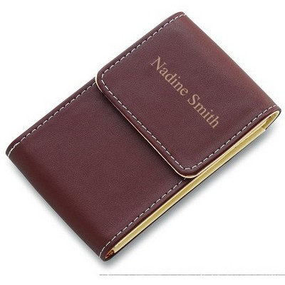 brown faux leather personalized business card holder - Custom Business Card Holder