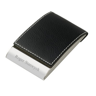 Personalized Leatherette Designer Vertical Business Card Holder in Brown or Yellow