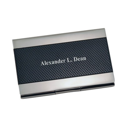 Elegant Pocket Business Card Holder in Black and Silver