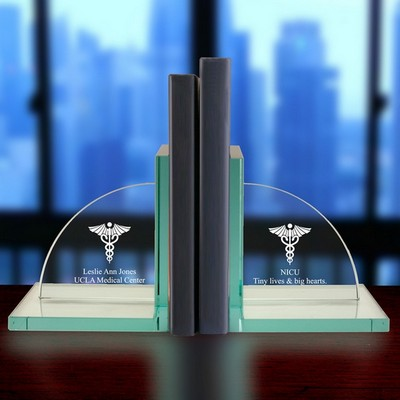 Personalized Jade Glass Medical Caduceus Bookends
