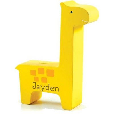 Personalized Wooden Giraffe Bank