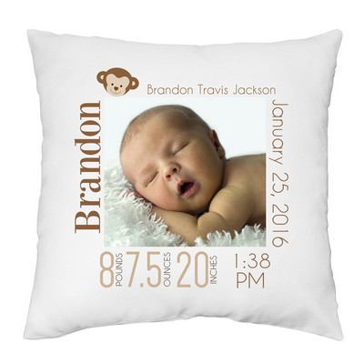 baby boy personalized photo keepsake pillow case