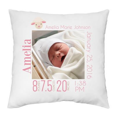 Baby Girl Personalized Photo Keepsake Pillow Case