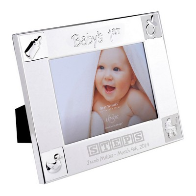 Babys First Personalized 5x7 Lenox Silver Plated Picture Frame