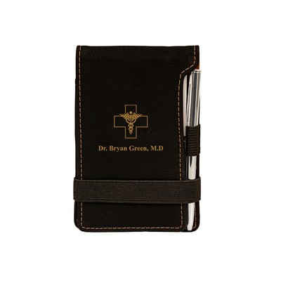 Black Leatherette Personalized Notepad with Pen for Doctors