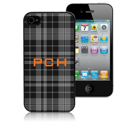 Black and Grey Plaid Personalized iPhone Case
