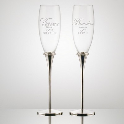 Bride and Groom Personalized Toasting Flutes with Crystal Jewel Ring