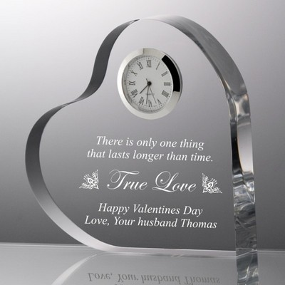 Heart Shape True Love Acrylic Clock