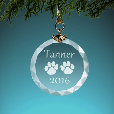 Personalized Paw Print Crystal Christmas Ornament