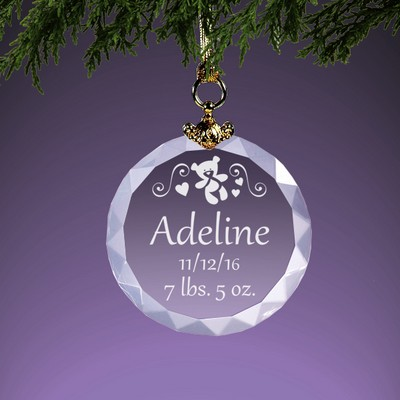 Personalized Birth Record Crystal Baby Ornament