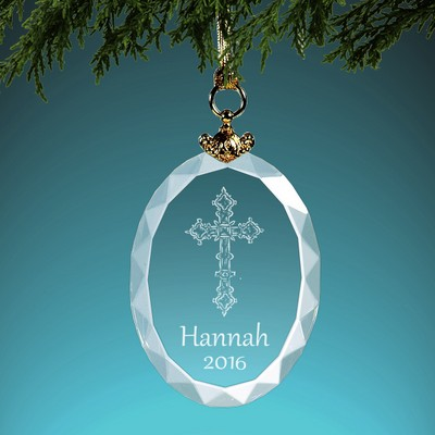 Holy Cross Personalized Crystal Christmas Ornament