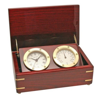 Rosewood Clock and Thermometer