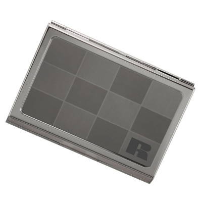 Checkered Logo Engraved Silver Business Card Case