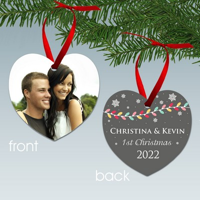 Couples First Christmas Heart Shaped Aluminum Photo Ornament