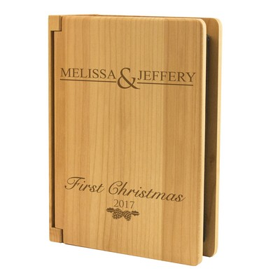 Couples First Christmas Personalized Maple Wood 4x6 Photo Album