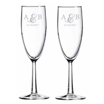 Couples Initialed Glass Toasting flute