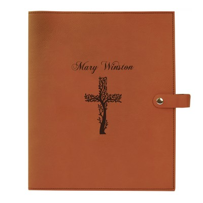 Cross Leatherette Personalized Bible Book Cover with Snap Closure