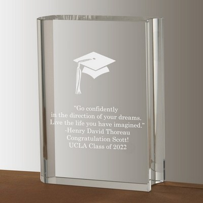 Crystal Book with Silver Graduation Cap Keepsake