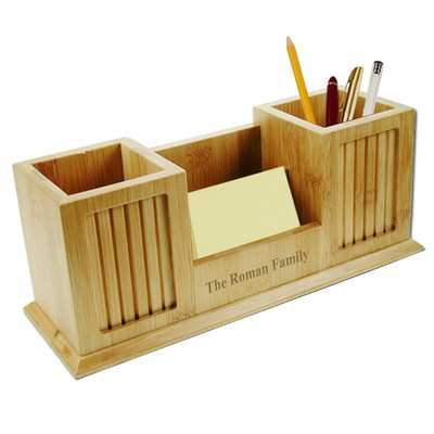 Bamboo Dual Pencil Cup Desk Organizer