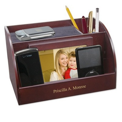 Rosewood Charging Station with Photo Frame and Pencil Cup