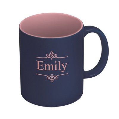 Dark Blue and Pink Personalized Ceramic Coffee Mug