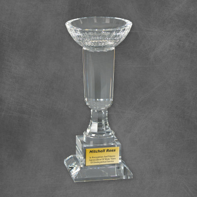 Dedication Clear Crystal Bowl Award