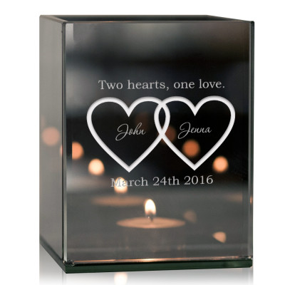 Double Heart Personalized Tea Light Candle Holder