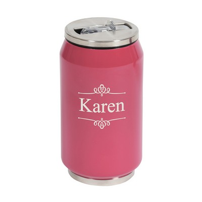 Double Wall Insulated Pink Hot Cold Beverage Can