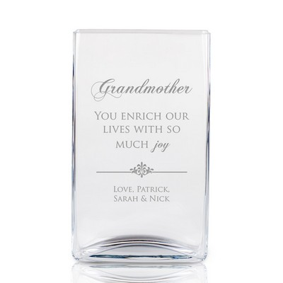 Engraved Rectangular Glass Vase for Grandmother