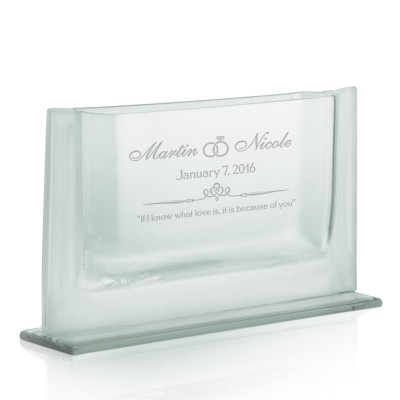 Engraved Wedding Couples Sleek Jade Glass Vase