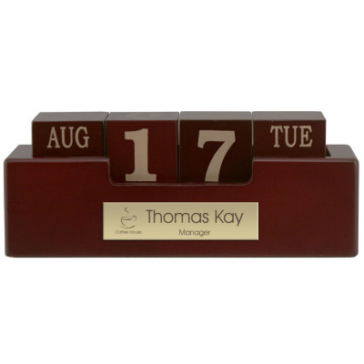 Engraved Wood Perpetual Desktop Calendar with Brass Plate
