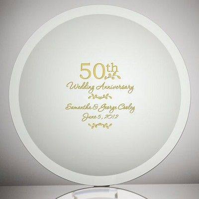 Etched Gl 50th Wedding Anniversary Plate