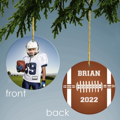 Football Design Personalized Ceramic Christmas Ornament