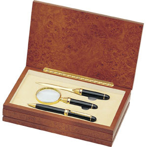 Personalized Black and Gold Pen Letter Opener and Magnifier Gift Set in Wood Box