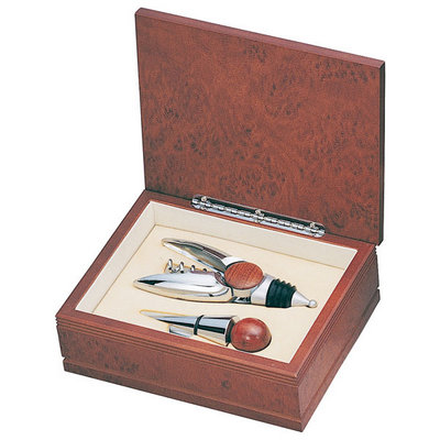 Personalized Silver and Wood Wine Stopper Gift Set