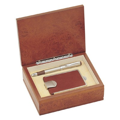 Personalized Brown Leather Business Card Case with Pen Gift Set
