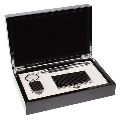 Black Carbon Fiber Style Card Case Keychain and Pen Gift Set