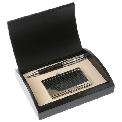 Carbon Fiber Pen and Card Case Gift Set with Curved Black Gift Box